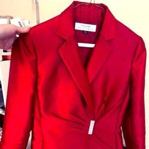 Tahari ASL Red Skirt Suit